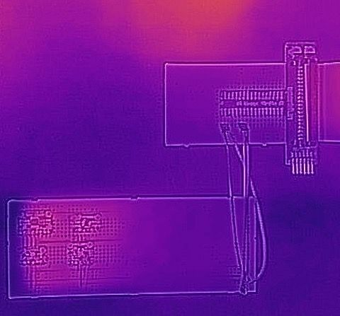 Thermal image: two breadboards